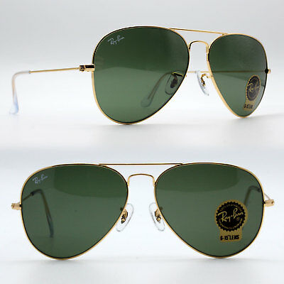 Ray-Ban Aviator Sunglasses unisex Crystal Green G-15 /Gold RB 3025 L0205 58 mm