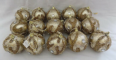 Christmas Tree Ornaments Lot of 15 Gold & Silver Hanging Bulbs From Dillards NEW