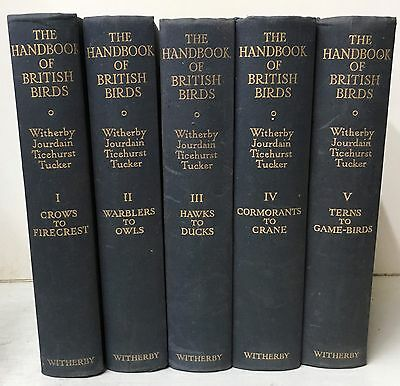"Complete 5 Volume Hardback Set - ""the Handbook Of British Birds"" - Witherby(1944"