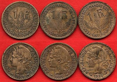 Cameroon Cameroun 64 : Lot 1 Franc 1924, 1925, 1926 Nice French Colonial Coins