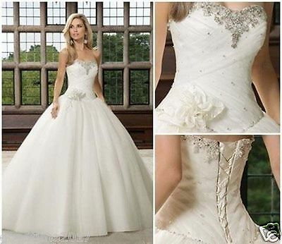 New Ivory Tulle  Wedding Dresses Bride Dress Gown Stock Size 8