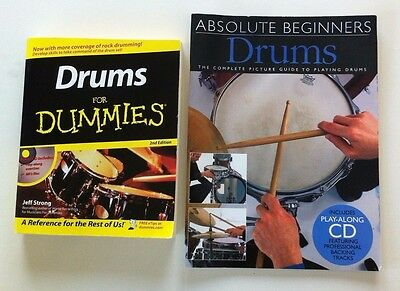 2 x Tuition Books 'Drums For Dummies' & 'Absolute Beginners Drums' + CD's