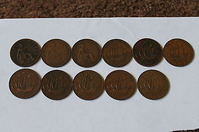 11 Half Penny Coins From Early 1926 - 1960 Good Overall Condition