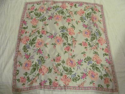 """Vintage Scarf  -Silk Scarf, Light blue with Pink Flowers  26"""" Square."""