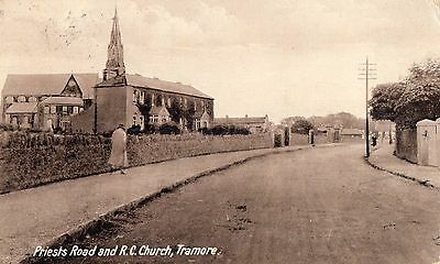 PRIESTS ROAD & RC CHURCH TRAMORE WATERFORD IRELAND POSTCARD by W J SHALLOE
