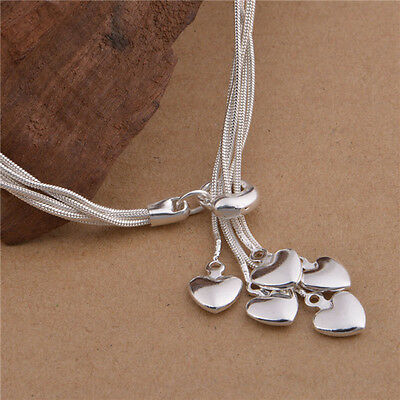 NEW! Stunning Hanging Hearts Charm Silver Pendant Bracelet Jewellery Womens Gift