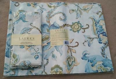 Ralph Lauren Home Set Of 4 Table Placemats & 4 Napkins Serviettes Floral Pattern
