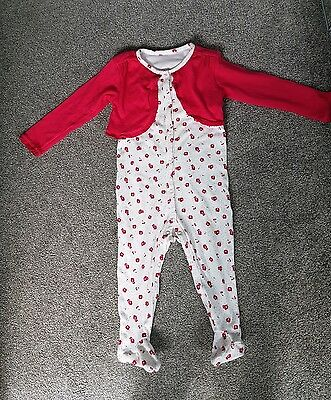 ☆☆☆Matalan Baby Girls Red Floral Sleepsuit - 12-18 Months. Worn once ☆☆☆