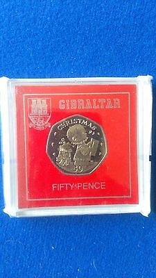 Gibraltar Christmas 50p 1989 BUNC in Display case