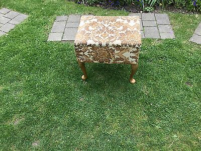 Vintage fabric covered sewing box with removable wood effect cabriole legs