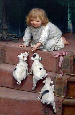 1893 Elsley~Jack Russell Terrier Puppy Dogs Race for Treat~NEW Lge Note Cards
