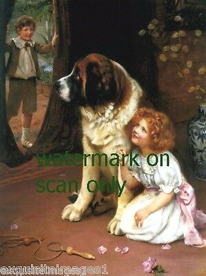 1908~Girl Plays Hide & Go Seek Behind Large St. Bernard Dog ~NEW Lge Note Cards