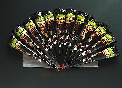 12 X  brown  HENNA CONES by GANPATI  making tattoos.herbal natural FRESH.PURE .