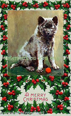 Antique Christmas Art~The Keeshond Dog~Puppy with Holly~NEW Christmas Note Cards