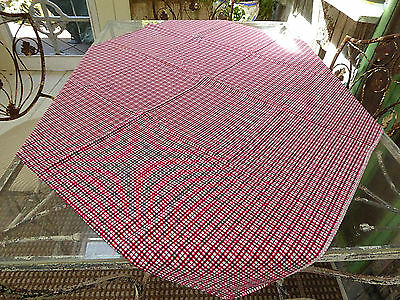 """Vtg Cotton Feed Sack with sm Red/White Check and Blue Dots 40""""Lx36""""W 1940's"""