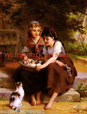 c1860 Pretty Girls with a Basket Full of Kitten Kittens Cat Cats~NEW Note Cards