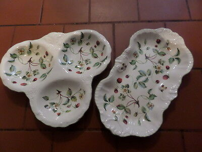 VINTAGE JAMES KENT OLD FOLEY POTTERY 3 SECTION STRAWBERRY DISH & TRAY No 2121