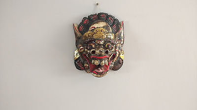 Vintage Hand Painted Wooden Chinese Carnival Dragon Mask Wall Hanging Deco S