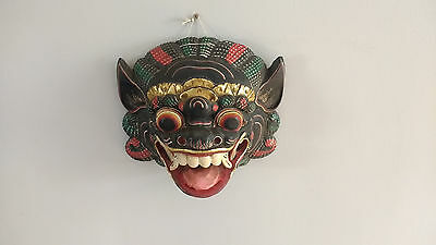 Vintage Hand Painted Wooden Chinese Carnival Dragon Mask Wall Hanging Deco L