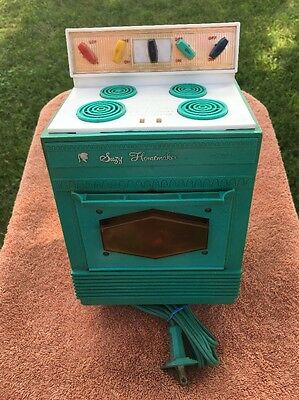 Vintage 1960's Suzy Homemaker Teal Stove Toy Oven-Working-Kitchen