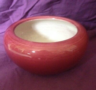 Antique Bretby Pottery Red Bowl Planter Jardiniere Pot Cover 9 inches diameter