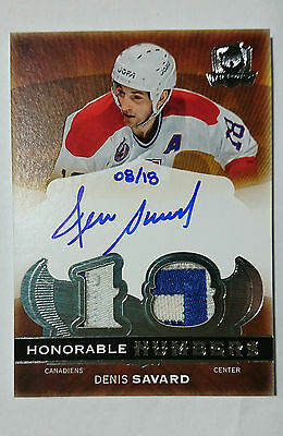 2014-15 The Cup Honorable Numbers Patch Auto Denis Savard /18