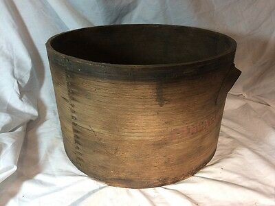 1800's 19TH CENTURY ANTIQUE ROUND WOODEN PANTRY PRIMITIVE BOX RUSTIC FOLK ART