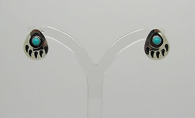"Sterling Silver and Turquoise, Traditional Stud Earrings ""Bear Paw Stud"""