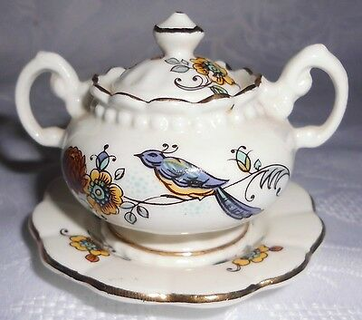 Vintage New Hall Miniature Bone China Soup Tureen, Lid & Charger Plate