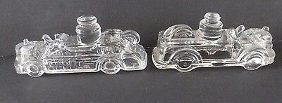 2 Vintage Clear Glass Fire Engines Candy Containers