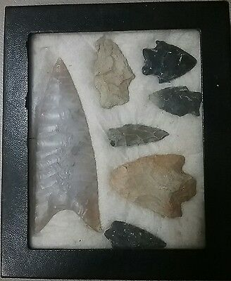 Old Native American Arrowheads in box.
