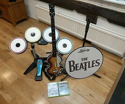 The Beatles Rock Band Drums, Guitar, Mic Stand & Games - No Mic or Box Free P&P