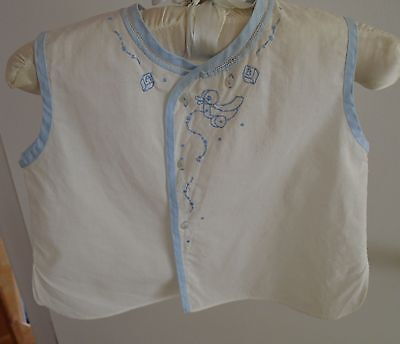 Feltman Baby Boy Blue Embroidered Diaper Shirt Vintage sleeveless Pull Toys top