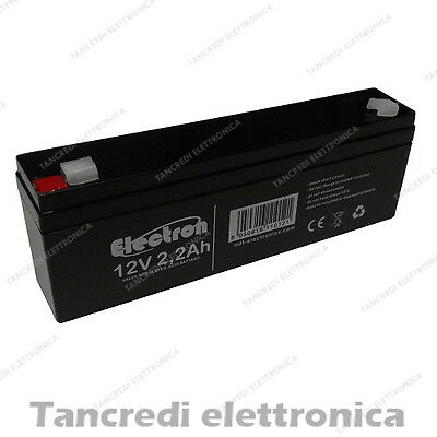BATTERIA ERMETICA AL PIOMBO AGM 12V 2,2Ah RICARICABILE SEALED LEAD ACID BATTERY