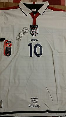 Michael Owen Signed official White England shirt 50th Cap, 2003-2005 with COA.