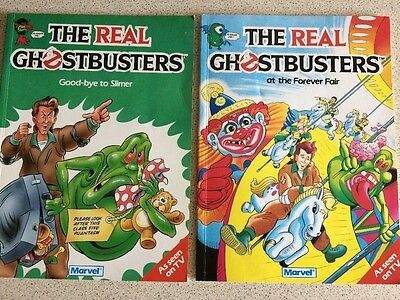 The Real Ghostbusters 2 x vintage Marvel books 1989