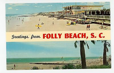 Greetings from FOLLY BEACH Vintage Charleston SC Chrome PC Surfing 1960s