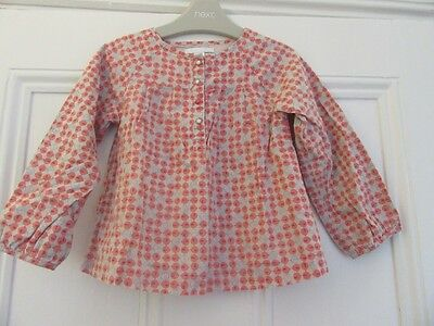 12-18m: Pretty smock top/blouse: Beige + pink chicks: 100% cotton/Lined: Obaibi