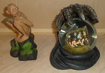 Lord Of The Rings, Hobbits In Hiding Snow Globe And Smegol Figurine's