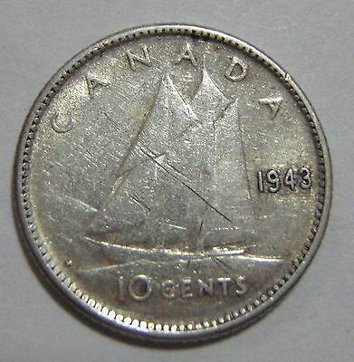 1943 Canada 10 cent coin - free ship to US!