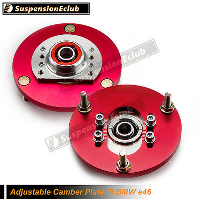 Adjustable Camber Plates for BMW E46 3 Series Top Mount Suspension Plate Red SEC
