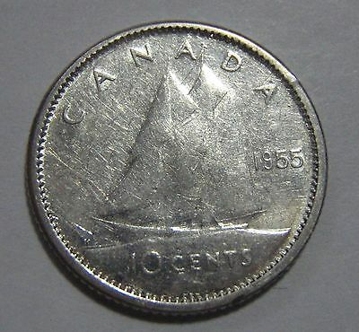 1955 Canada 10 cent coin - great condition! Free ship to US