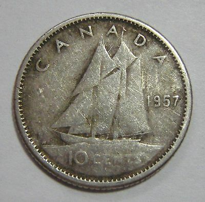 1957 Canada 10 cent coin - free ship to US