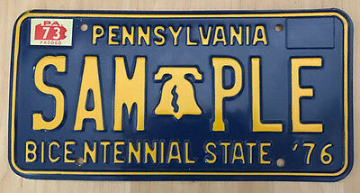 1973-76 Pennsylvania sample license plate