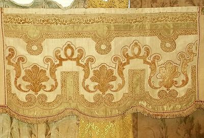 Magnificent Antique Silk and Velvet Curtain Valance no 1