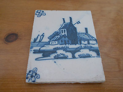 Authentic Antique Blue & White Delft Tile Circa 1650 - 1680. Very Good Condition