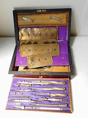 Antique 19Th Century Mahogany Cased Technical Drawing Set +++ Contents