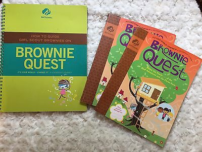 3 Girl Scout Books  BROWNIE QUEST - Quest Guide, 2 Brownie Girl Quest Books