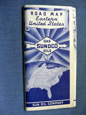 Sunoco Gas Eastern United States Road Map 1930