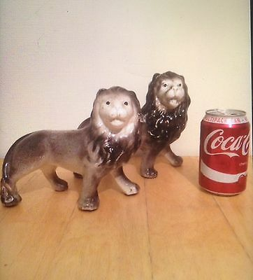Old Unusual Lion Pair Staffordshire Rare Early